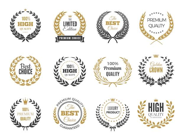 Etichette rotonde premium. emblema di vendita o vittoria con raccolta di distintivi di rami greci rotondi
