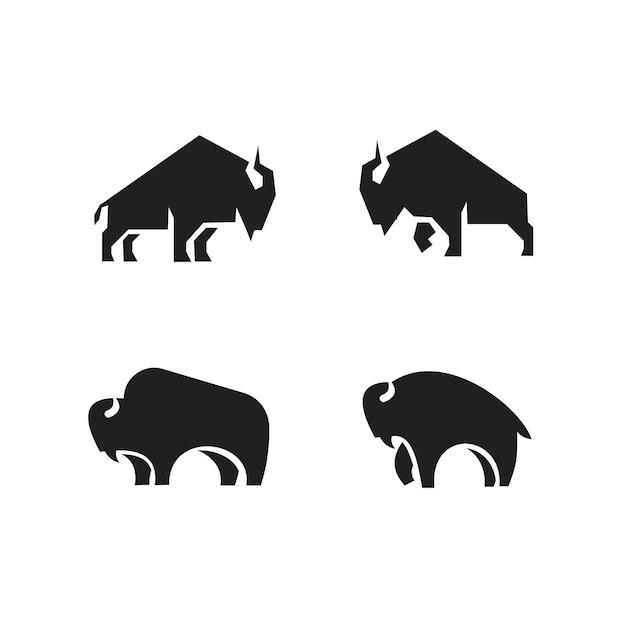 Premium set collezione bisonte nero vettore logo icona design isolato sfondo bianco