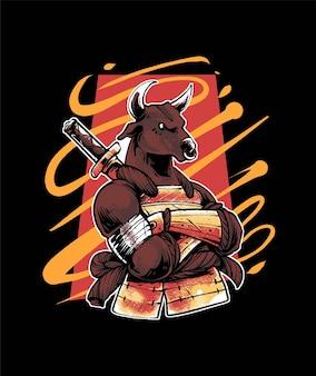 Illustrazione di samurai toro vettoriale premium, in stile cartone animato moderno, perfetta per t-shirt o prodotti stampati