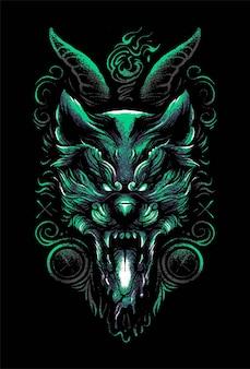 Illustrazione di testa di lupo satanico vettoriale premium, in stile cartone animato moderno, perfetta per t-shirt o prodotti stampati