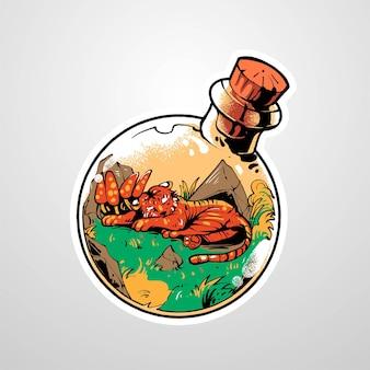Tigre vettoriale premium su bottiglia di pozione illustrazione, in un moderno stile cartone animato, perfetto per t-shirt o prodotti stampati