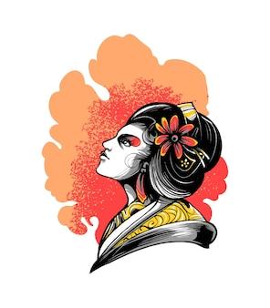Illustrazione vettoriale premium donna giappone geisha, in stile cartone animato moderno, perfetta per t-shirt o prodotti stampati