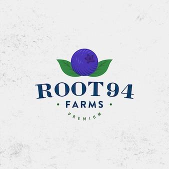Vettore di design del logo della fattoria di mirtilli vintage premium