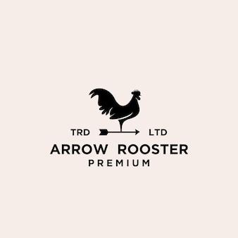 Design del logo del gallo della banderuola premium