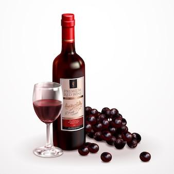 Set di vini premium, vino delizioso con uva e bicchiere di vino