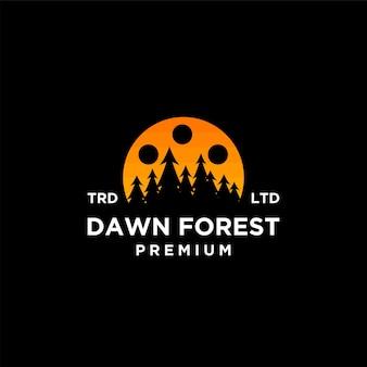 Disegno dell'icona del logo di vettore del film della foresta dell'alba dell'albero di legno premium