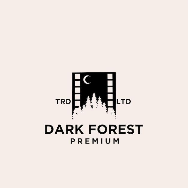 Disegno dell'icona del logo di vettore del film foresta albero di legno premium