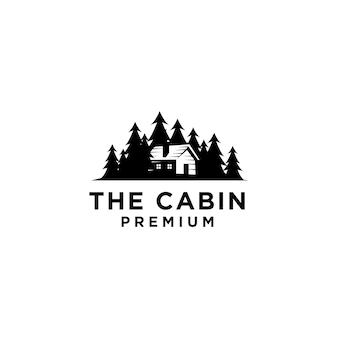 Premium cabina in legno e pineta retrò vettore logo nero design isolato sfondo bianco