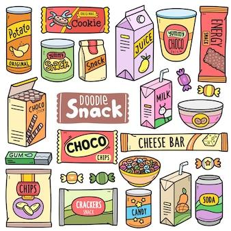 Snack preconfezionati con elementi grafici vettoriali colorati e illustrazioni scarabocchiate