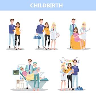 Prepararsi all'ospedale prima della nascita del bambino. donna che dà alla luce e famiglia felice che tiene neonato. illustrazione