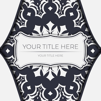 Preparare un invito con un posto per il tuo testo e ornamenti vintage. modello di vettore per il colore bianco della cartolina di progettazione della stampa con l'ornamento greco.