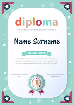 Preschool kids diploma certificato sfondo modello di progettazione