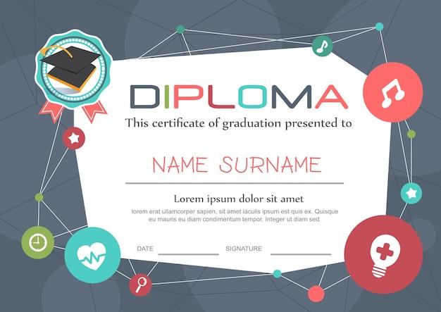 Modello di sfondo certificato diploma di bambini in età prescolare Vettore Premium