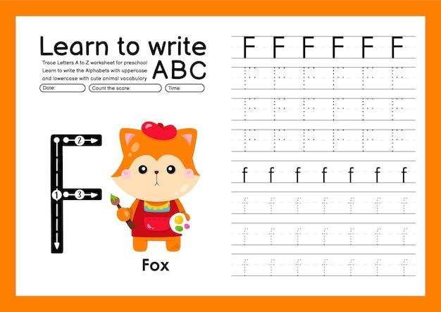 Traccia per bambini in età prescolare dalla a alla z con lettere e vocabolario animale foglio di lavoro per tracciare l'alfabeto f volpe