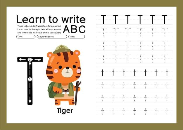 Traccia per bambini in età prescolare dalla a alla z con lettere e vocabolario animale foglio di lavoro per tracciare l'alfabeto t tige