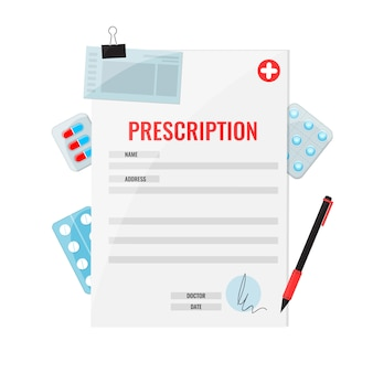 Forma di farmaci da prescrizione e penna con pillole stile piatto.