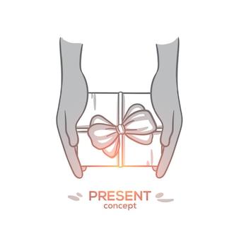 Concetto attuale. mani disegnate a mano che tengono confezione regalo con come regalo. presente scatola con fiocco in corda nastro, illustrazione isolata vista dall'alto.