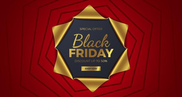 Ordito di carta regalo dorato e rosso presente per banner elegante di lusso del black friday