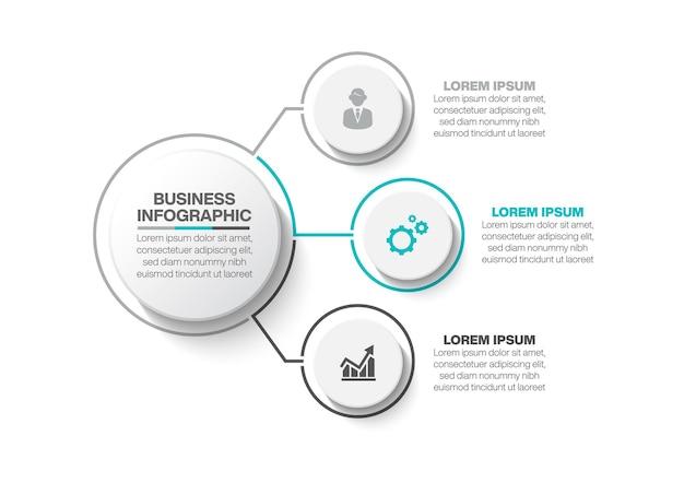 Presentazione modello di infografica cerchio aziendale con 3 opzioni.