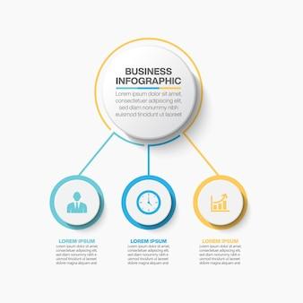 Modello di infographic del cerchio di affari di presentazione con 3 opzioni.