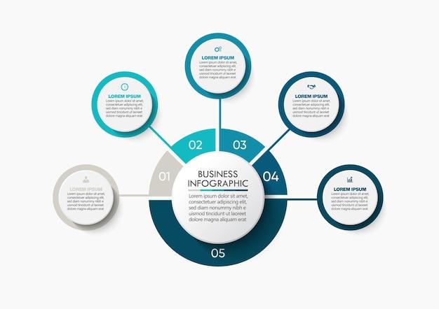 Modello di infographic del cerchio di affari di presentazione con 5 opzioni.