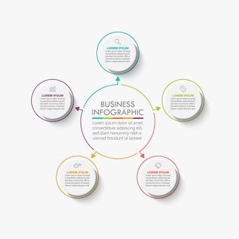 Presentazione modello di infografica cerchio aziendale con 5 opzioni.