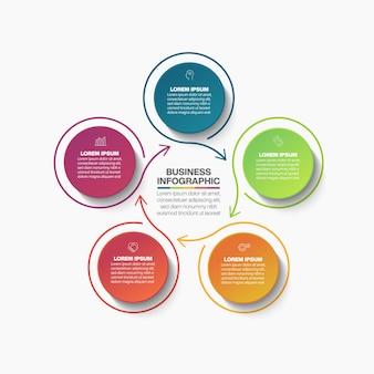 Modello di infographic del cerchio di affari di presentazione con 5 opzioni