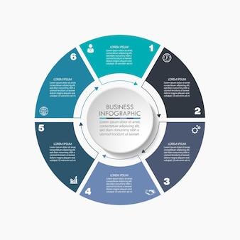 Modello di infographic del cerchio di affari di presentazione con 6 opzioni