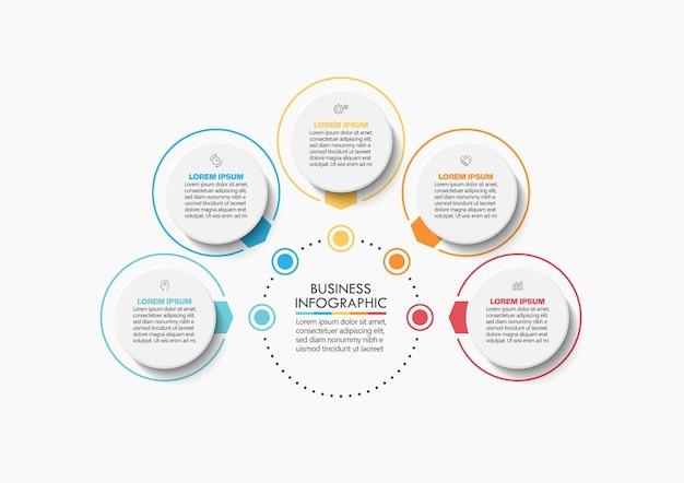 Modello di infographic del cerchio di affari di presentazione con le opzioni