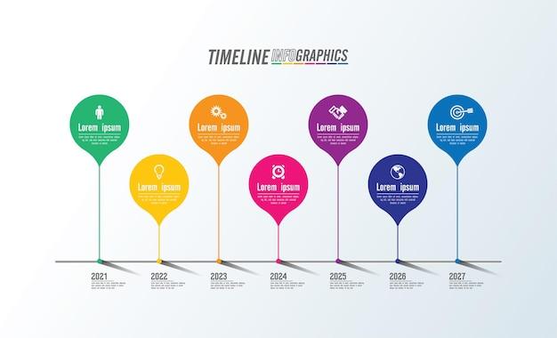 Modello colorato di presentazione aziendale infografica con 7 passaggi