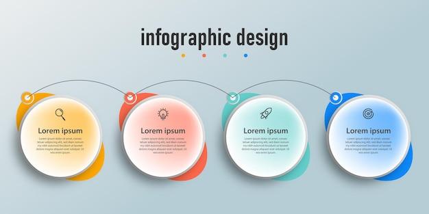 Modello di progettazione infografica aziendale di presentazione con 4 opzioni o passaggi