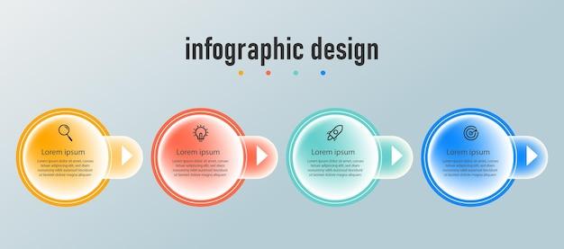 Modello di vetro trasparente di progettazione infografica aziendale di presentazione con 4 opzioni o passaggi