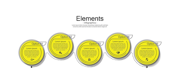Cerchio di elementi infographic di presentazione aziendale con 5 passaggi