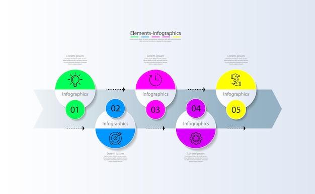 Elementi infografici aziendali di presentazione colorati con cinque passaggi