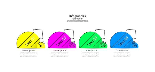 Elementi infografici aziendali di presentazione colorati con quattro passaggi