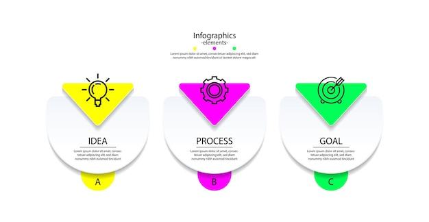 Elementi infografici aziendali di presentazione colorati con tre passaggi