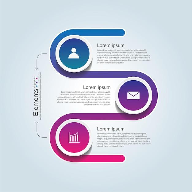 Elementi di presentazione aziendale infografica con 3 passaggi