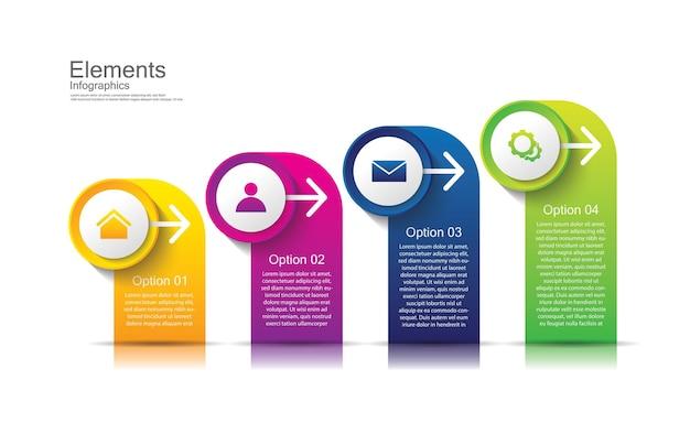 Elementi di presentazione aziendale infografica con 4 passaggi