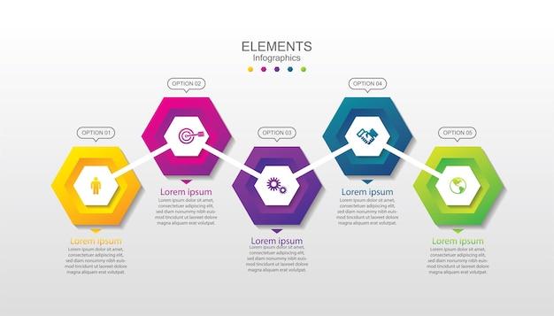 Elementi di presentazione aziendale infografica con 5 passaggi