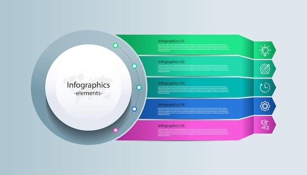 Elementi di infografica aziendale di presentazione con cinque passaggi