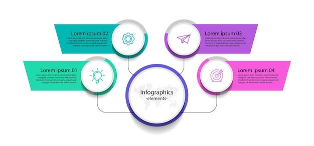 Elementi di infografica aziendale di presentazione con quattro passaggi