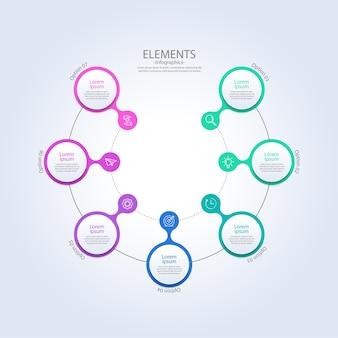 Elementi di infografica aziendale di presentazione con sette passaggi