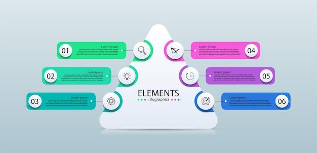 Elementi di infografica aziendale di presentazione con sei passaggi