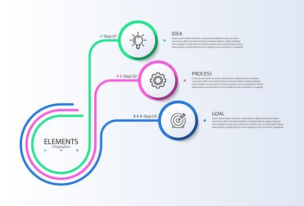 Elementi di infografica aziendale di presentazione con tre passaggi