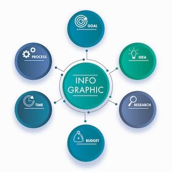 Poster o modello di presentazione aziendale infografica con opzioni.