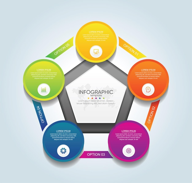 Presentazione aziendale infografica modello cerchio colorato con 5 passaggi