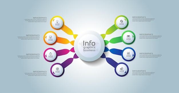 Cerchio del modello di infografica aziendale di presentazione colorato con otto passaggi