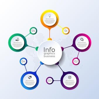 Cerchio del modello di infografica aziendale di presentazione colorato con cinque passaggi