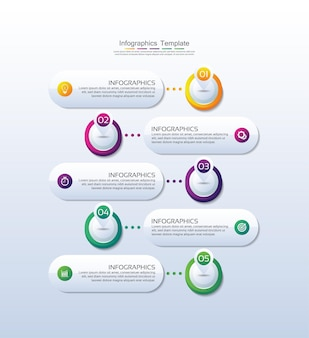 Cerchio del modello di infografica aziendale di presentazione colorato con quattro passaggi