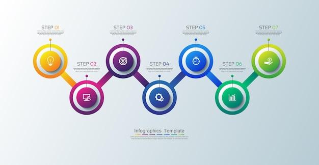 Cerchio del modello di infografica aziendale di presentazione colorato con sette passaggi